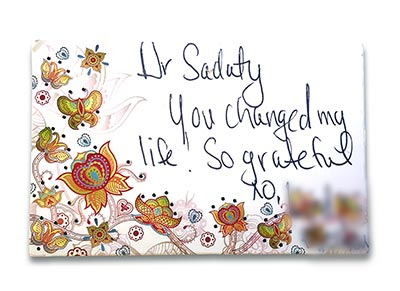 Dr Anita Sadaty Thank You Card