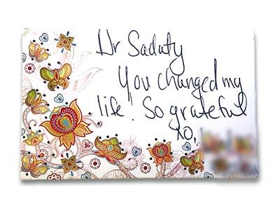 Dr Anita Sadaty Thank You Card